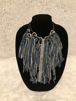 Blue Denim Fringe Necklace