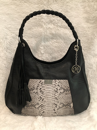 Oversized Genuine Snakeskin & Leather Hobo - Dark