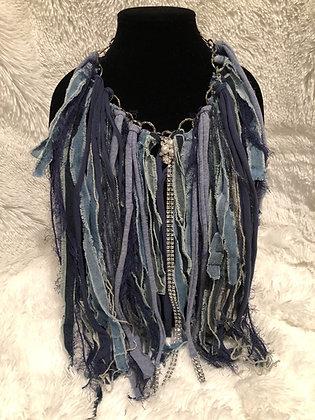 Denim Fringe Necklace (Custom Made) w/Silver tone Hardware