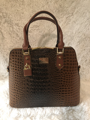 Ostrich Print Satchel w/Matching Wallet (Multiple Colors)