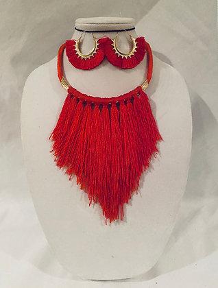 Red Fringe Necklace Set