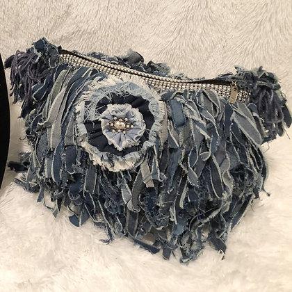Blue Denim Fringe Handbag - Custom Made