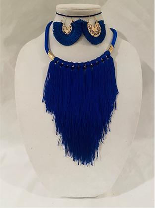Blue Fringe Necklace Set