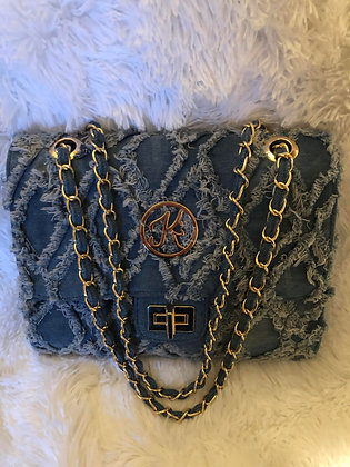 Denim Quilted Distressed Crossbody Bag with Chain Strap