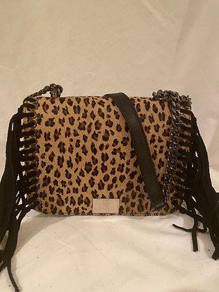 Leopard Cowhide/Leather Fringe Handbag