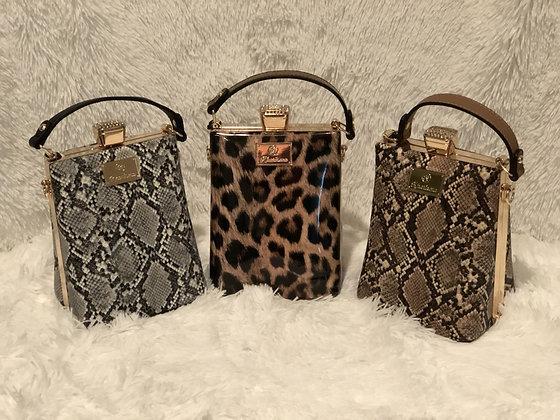 Diamond Jewel Petite Snake Print Handbag