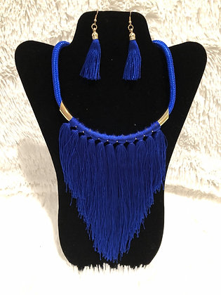 Blue Fringe Necklace Set $25