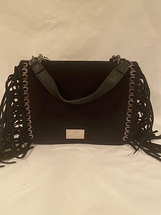 Black Suede/Leather Fringe Handbag