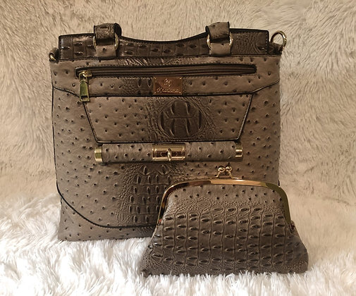 Ostrich Print Handbag w/Matching Cosmetic Clutch -Taupe