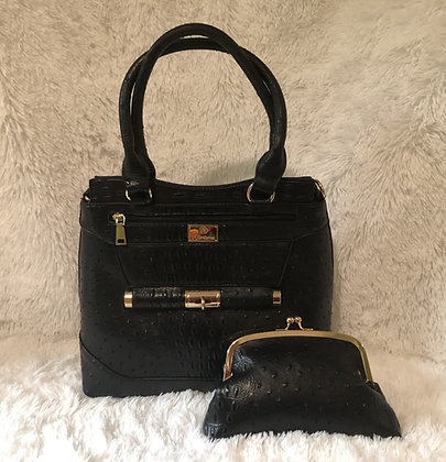Ostrich Print Handbag w/Matching Cosmetic Clutch - Black