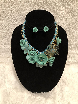 Chunky Chain Floral Necklace (Teal)