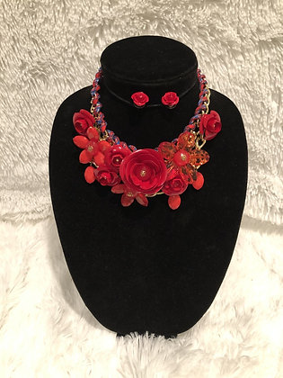 Chunky Chain Floral Necklace (Red)