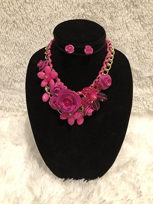 Chunky Chain Floral Necklace (Pink)