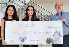 Lena Faust presents cheque to Dr Maryam Oskoui and Dr Michael Shevell of th Canadian Cerebral Palsy Registry