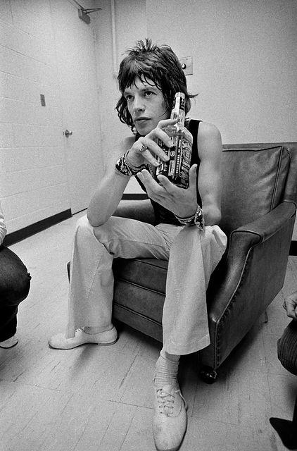 Mick Jagger with JD bottle 1972.jpg