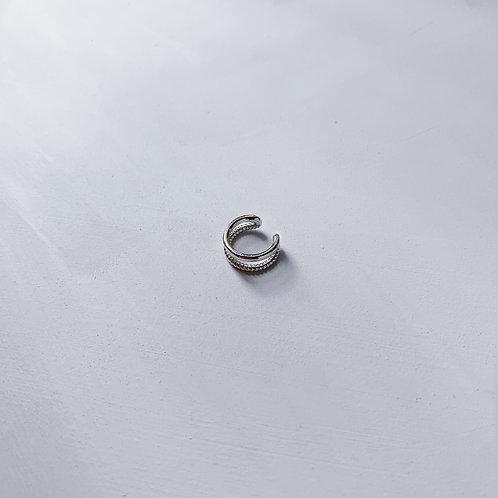 Silver Double Huggie Ear Cuff