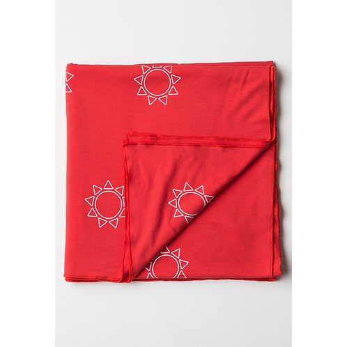 Baby Blanket Red with White Suns