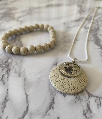 White Lava Stone Bracelet & Pendant Set