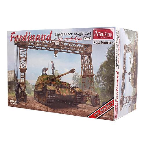 (в пути) Фердинанд с интерьером +точеный ствол и кран 16т - Amusing 1:35 35A030