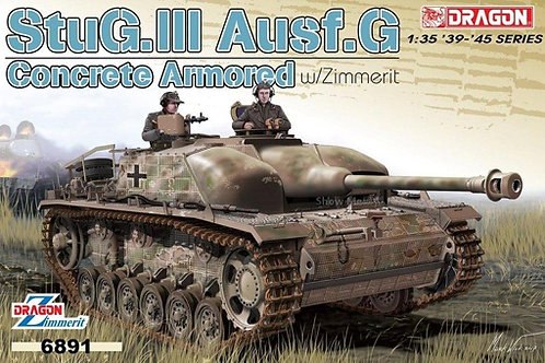 StuG.III Ausf.G, циммерит, доп броня из цемента - Dragon 1:35 6891