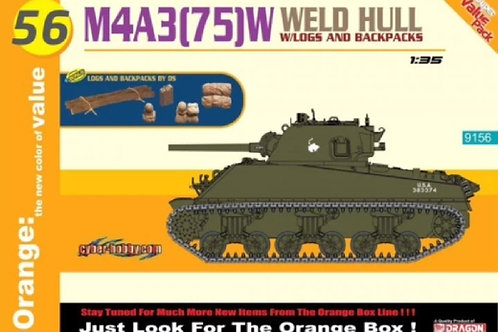 Sherman M4A3 (75)W Weld Hull w/Logs and Backpacks - Cyber Hobby 9156 1:35 Dragon