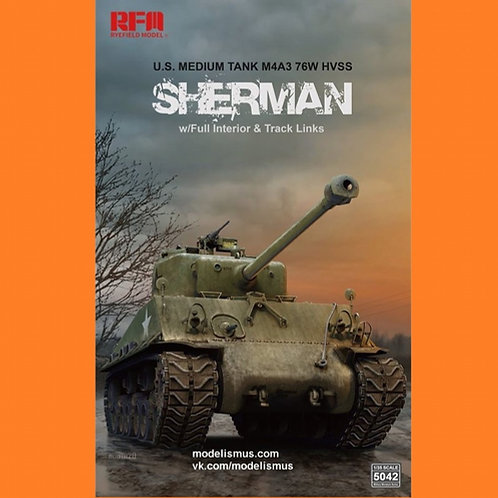 (под заказ) M4A3 76W HVSS Sherman с интерьером и траками - RFM RM-5042 1/35