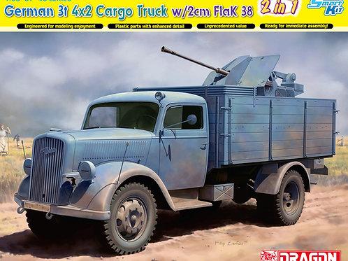 (последний раритет) German 3t 4x2 Truck w/2cm FlaK 38 (2 in 1), Dragon 1:35 6828