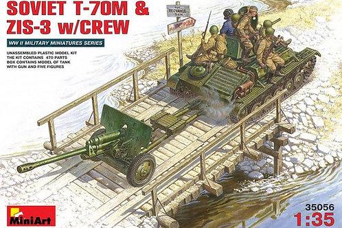 Советский танк Т-70М с пехотой и пушкой ЗиС-3 - MiniArt 35056 1/35
