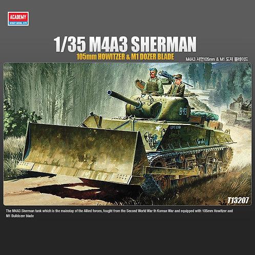(под заказ) Танк M4A3 Shermanс пушкой 105 мм и отвалом- Academy 1:3513207