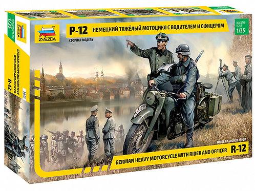 3632 Звезда 1:35 Немецкий тяжелый мотоцикл Р-12 с водителем и офицером, BMW R-12