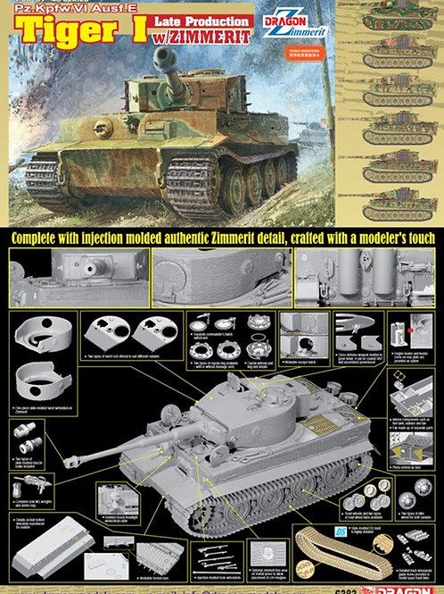 Танк Тигр Tiger I поздняя серия, циммерит, DS траки - Dragon 6383 1:35