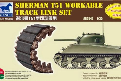 Рабочие траки M4 Sherman Шерман Тип Т51 (наборные, пластик) - Bronco 1/35 AB3542
