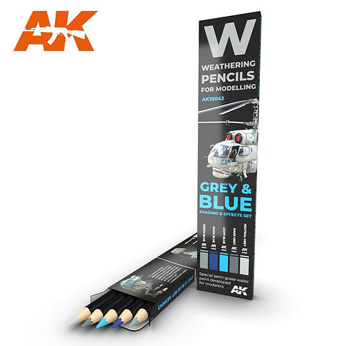 AK-10043 AK Interactive Везеринг карандаши WATERCOLOR PENCIL SET: GREY & BLUE