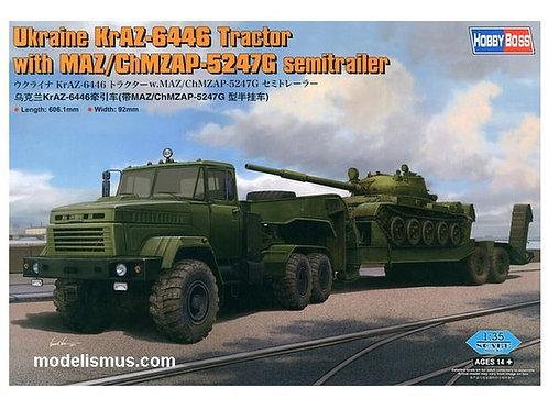Тягач КрАЗ-6446 с полуприцепом и танком Т-62 - Hobby Boss 85513 1:35