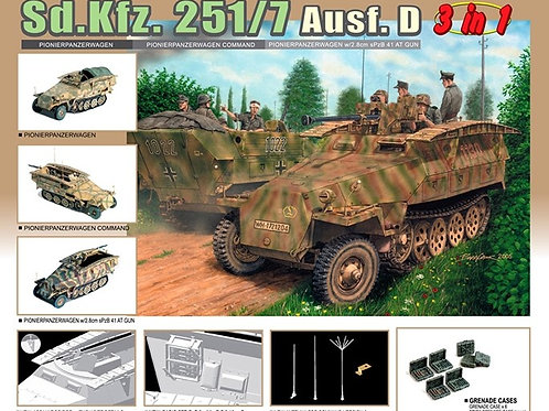 (под заказ) Sd.Kfz. 251/7 Ausf. D (3 in 1) с 28-мм пушкой - Dragon 6223 1:35