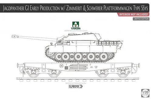 *КОМБО 2в1* Jagdpanther G1 Early w/Zimmerit & жд платформа - Takom 1:35 2125x