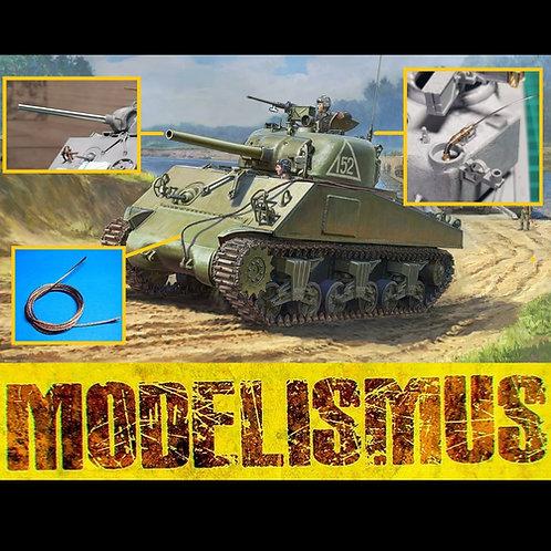 *Комбо* 3702 Звезда 1/35 Танк Шерман M4A2 (75) + БОНУСЫ: антенна, тросик, ствол
