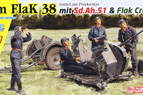(под заказ) 2cm FlaK 38 Production mit Sd.Ah.51 and Crew - Dragon 1:35 6942