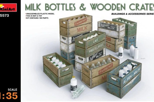 Бутылки молока в деревянных ящиках - 35573 MiniArt 1:35