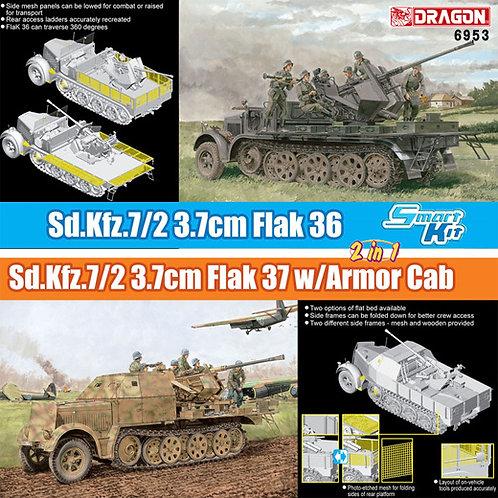 (под заказ) 2в1 Немецкий тягач Sd.Kfz.7/2 с зениткой Flak36/37, Dragon 1:35 6953