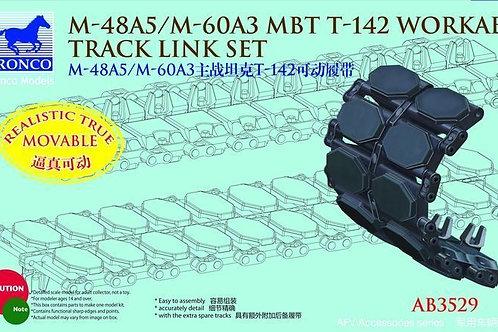 Рабочие наборные траки (пластик) T142 для M48A5 Паттон M60A3 Bronco AB3529 1/35