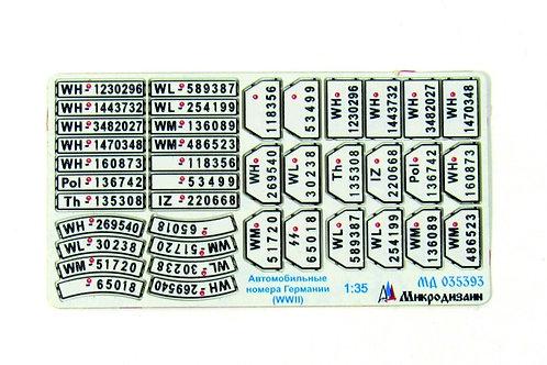 МД 035393 Цветные германские автомобильные номера 2МВ - Микродизайн 1/35