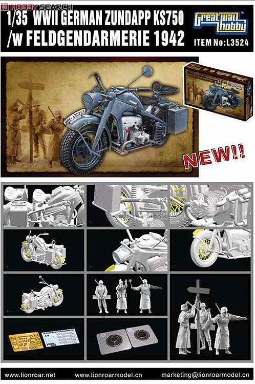 (под заказ) Мотоцикл Zündapp KS750 + жандармы 1942 - Great Wall Hobby 1:35 L3524