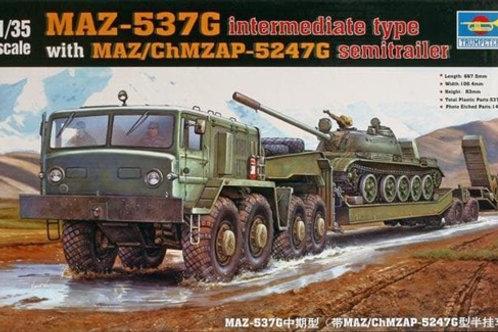 Тягач МАЗ-537, основная серия, с полуприцепом ЧМЗАП-5247Г - Trumpeter 00211 1:35