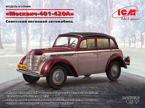 ICM 35484 Москвич-401-420А, Советский легковой автомобиль, 1:35
