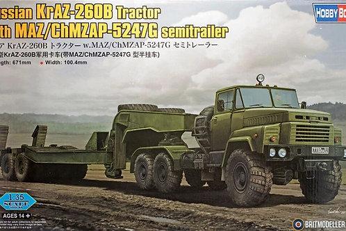 Тягач Краз-260Б с полуприцепом ЧМЗАП-5247Г - Hobby Boss 1:35 85523