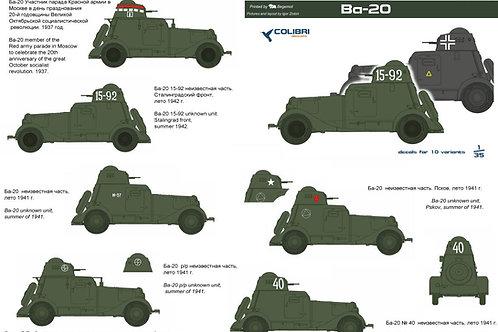 35015 Colibri Decals 1/35 Декали бронеавтомобиль БА-20