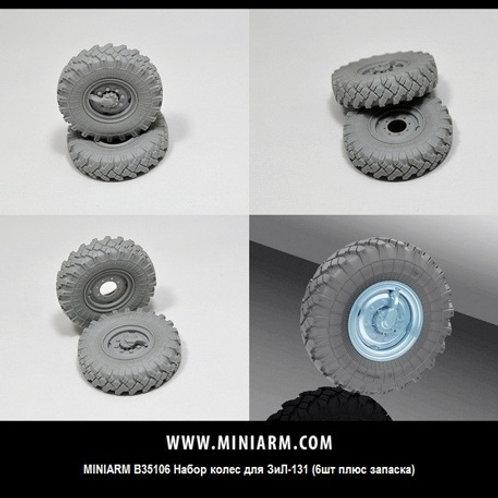 MINIARM B35106 Набор колес для ЗиЛ-131 (6 шт плюс запаска) 1:35 35106