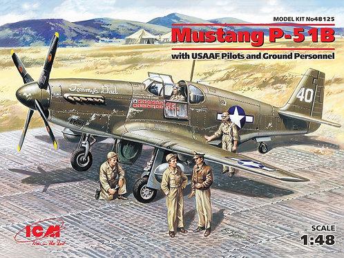 ICM 48125 1:48 Мустанг Р-51 В, американский истребитель Mustang + пилоты и др