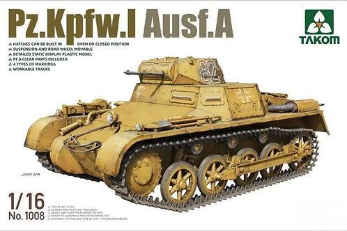 (под заказ) Немецкий танк Pz.Kpfw.I Ausf.A - Takom 1:16 1008